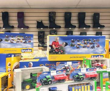CWFS Ltd farm toys and wellies on display in store