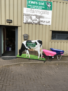 CWFS Ltd Newborough store front with model cow outside
