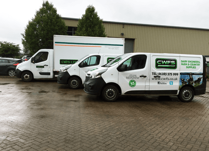 CWFS Ltd vans parked outside - farm supplies delivery services